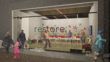 RESTORE, a proposed public space network to occupy vacant storefronts. Atelier et Alia.